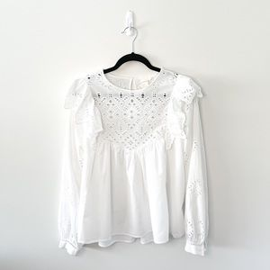 H&M Eyelet Broderie Anglaise White Blouse Size 8